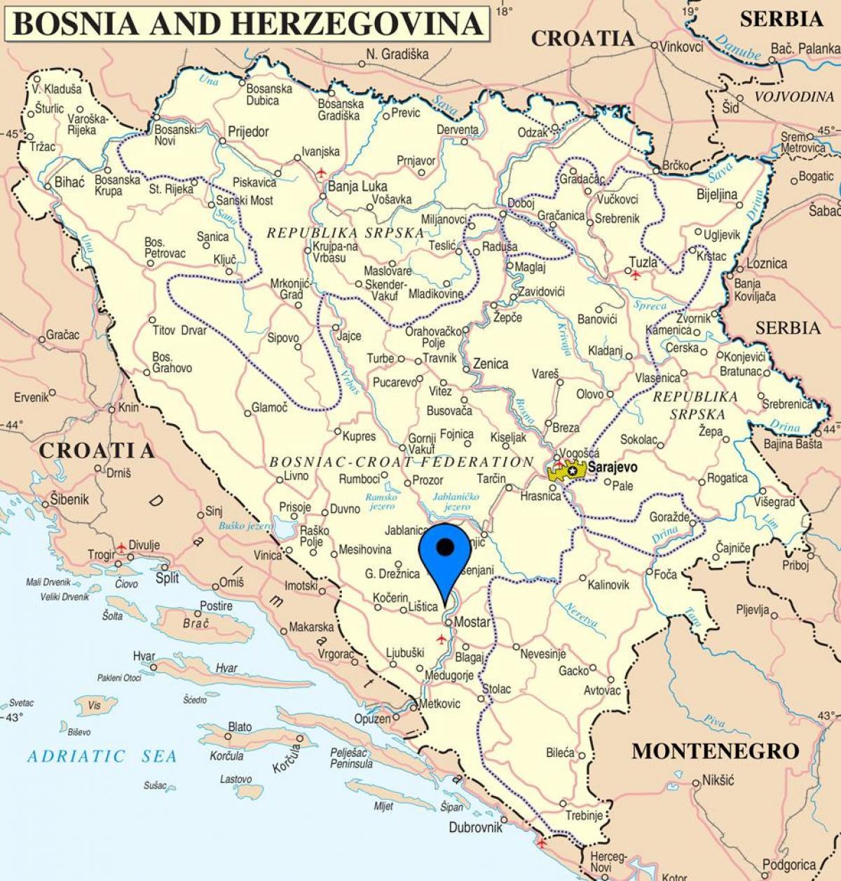 bosnia kart Mostar i Bosnia kart   Kart over mostar i Bosnia Hercegovina (Sør  bosnia kart